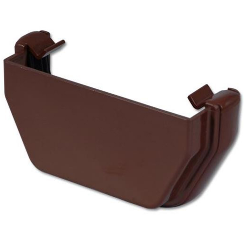 Square Gutter External Stop End Floplast Brown RES1